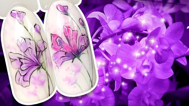 🌸 Нежные Фэнтези Цветы для Весеннего Маникюра Цветочный Дизайн Ногтей на Ноготках Рисунок Гель-лаком