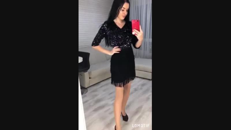 Платье чёрное блеск