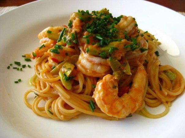 спагети с креветками рецепт