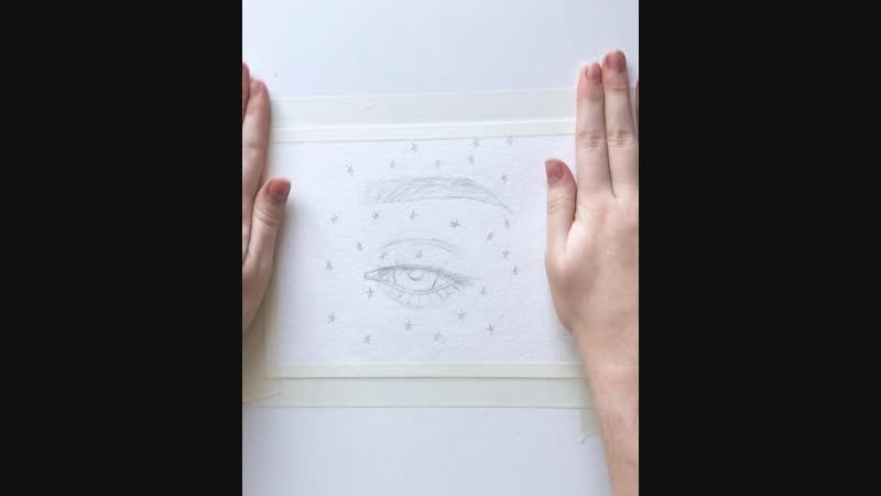 Рисунок глаза акварелью — IG: ARTASTAP ( Speedpaint)