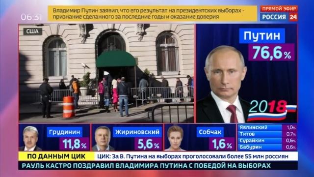 Новости на Россия 24 • В три утра по Москве закрылся избирательный участок в российском посольстве в Вашингтоне