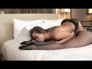 Alexandra playing in black pantyhose