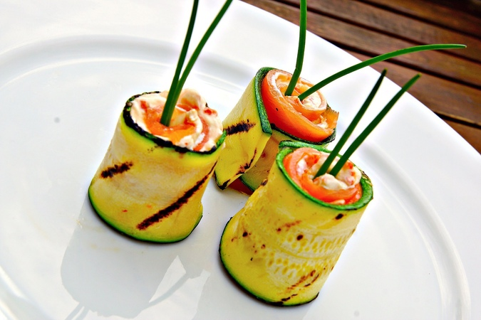 Grilled Zucchini and Smoked Salmon Rolls - Zucchini Video Recipe - Appetizer