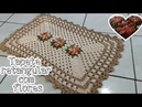 Tapete de crochê retangular com flores para banheiro,porta ou cozinha