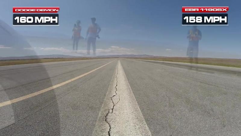Dodge Demon vs EBR 1190SX - 1-2 Mile Top Speed Runs.mp4