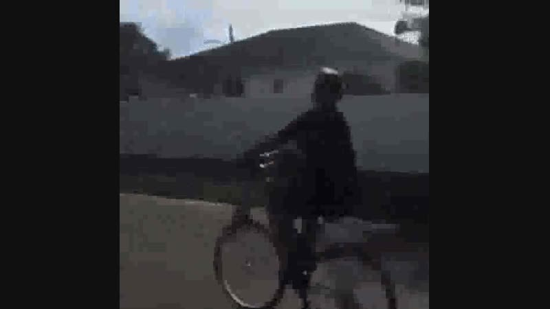 The bike disintegrates