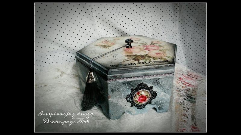 Pudełko decoupage z efektem marmuru i embossingiem*tutorial marble effect*decoupage box embossing