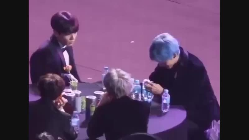 Jungkook really loves teasing his baby, the way he looked at tae for his reaction and smiled after he pushed the bottle says it