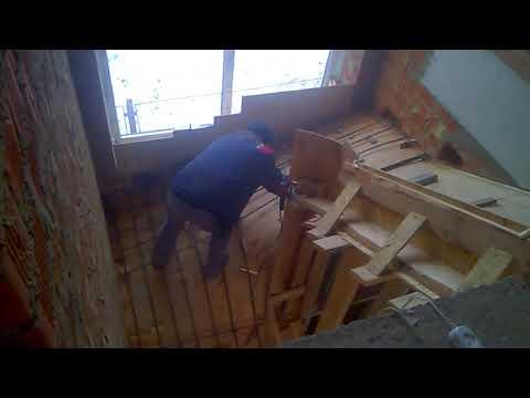 Как армировать монолитную лестницу с забежными ступенями 1. День 5, часть-4.
