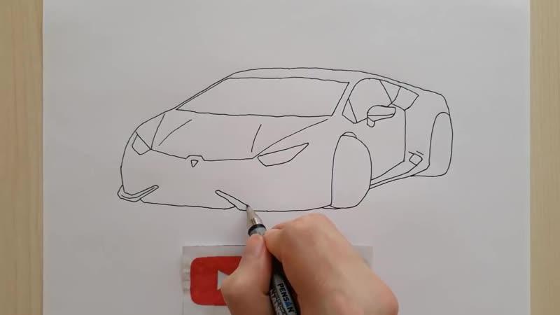 ÇOK KOLAY LAMBORGHİNİ ARABA ÇİZİMİ - Basit Spor Araba Çizimi - How to Draw a Lam
