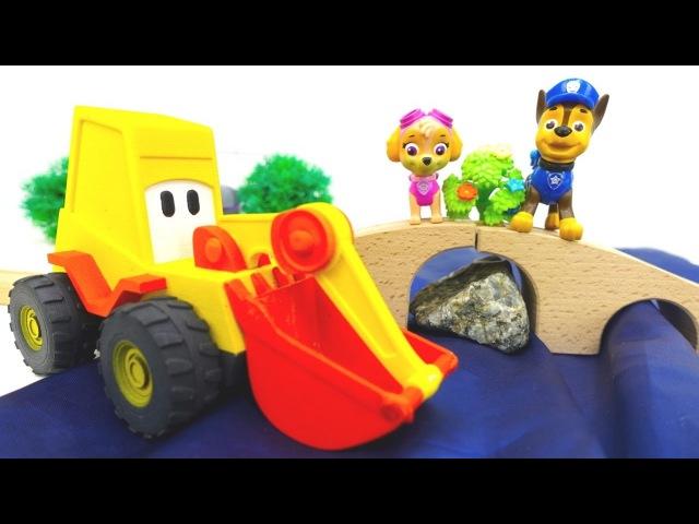 Экскаватор Макс строит мост для Чейза. Видео про машинки и игрушки Щенячий патруль н английском языке.