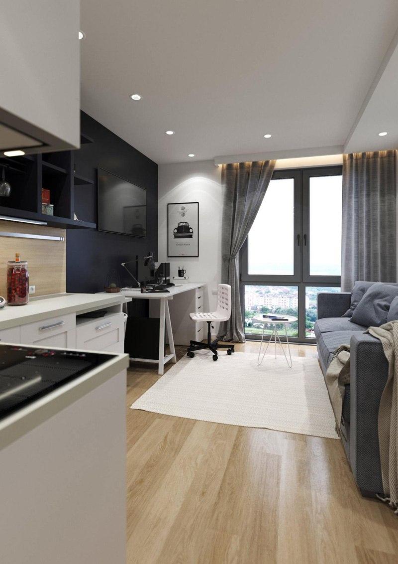 Проект квартиры-студии 23 м от украинского застройщика Парус Development.