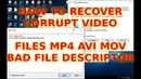 How to recover any corrupted video mov mp4 files sd card sdxc microsd class 10 avi 2019