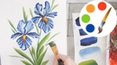 Easy way to paint the Iris flower by a flat brush painting for beginners