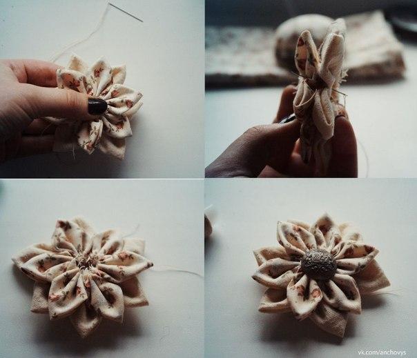 Мастер-класс по созданию винтажной броши из ткани.