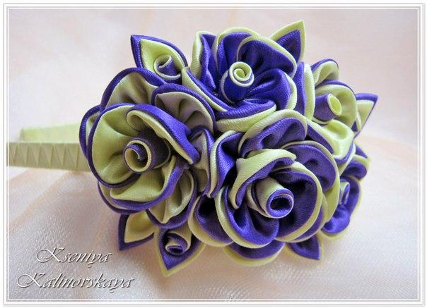 Цветы из лент своими руками канзаши фото