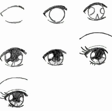как рисовать аниме волосы карандашом: