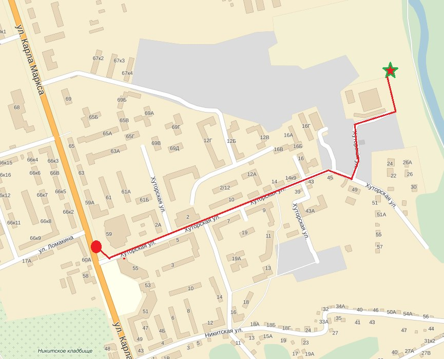 Схема проезда до склона на ул.