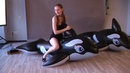 Really hot girl ride on inflatable whale Looner'sParadise