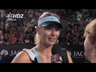 {HD} Maria Sharapova interview vs Mattek-Sands Highlights Australian Open R1 2014