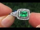 Estate Natural EXOTIC Colombian Emerald Diamond 14k White Gold Pendant Necklace GEM - A141510