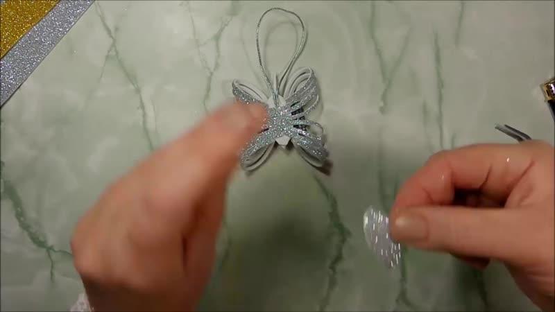 Новогодние игрушки на ёлку, бабочки из глиттерного фоамирана _ diy christmas orn