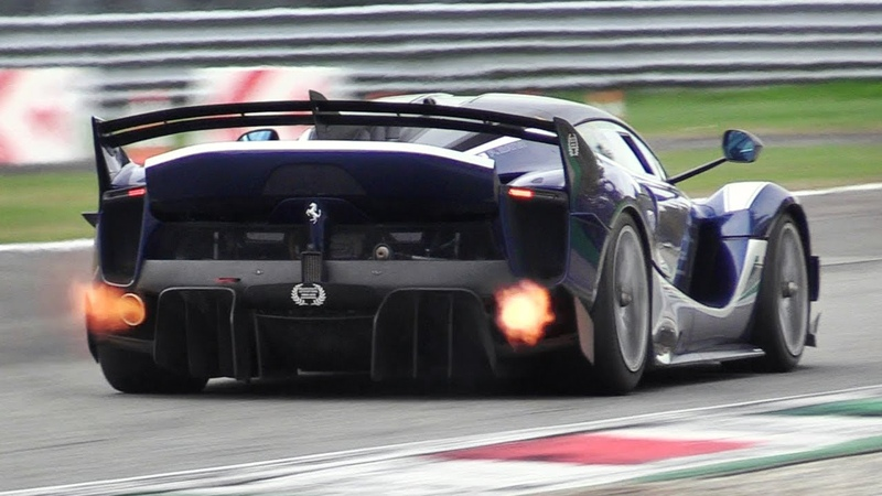 8 x Ferrari FXX K EVO Pure Sound at Monza Circuit Accelerations, Flames Hot Glowing Brakes!