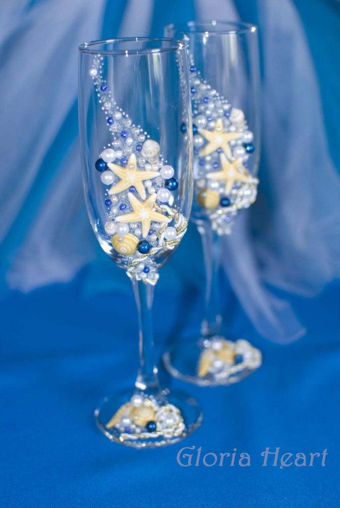 Свадебные бокалы в морском стиле