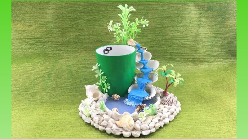 DIY || Hot glue waterfall with broken cup || Miniature craft || Pen stand || Lets make art