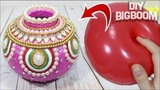 How to make flower pot with balloon and paper Flower pot decoration ideas