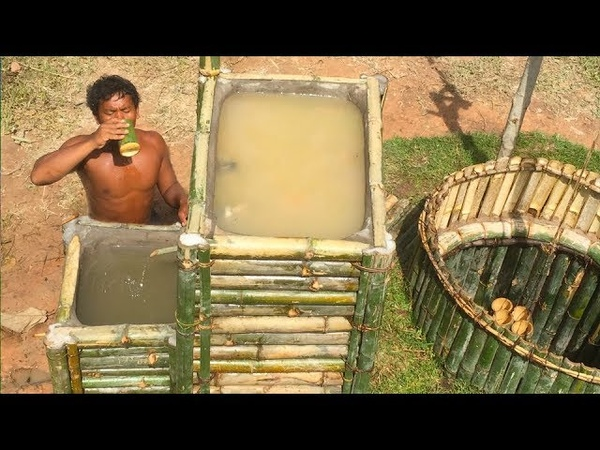 Search groundwater and Build Water filter in the forest by ancient skill wells bamboo