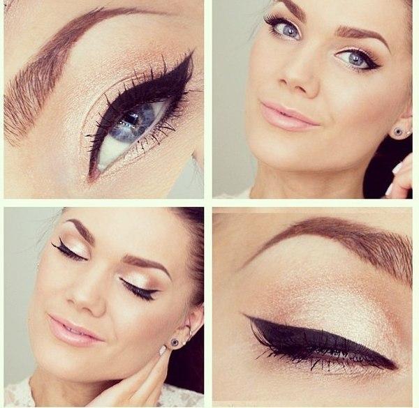 Дневной макияж для карих глаз со светлой кожей