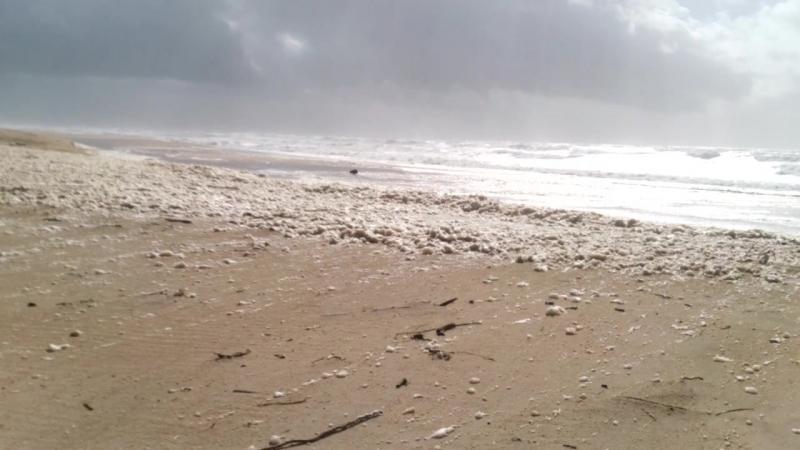 Rough sea foamy sand 30-03-2018