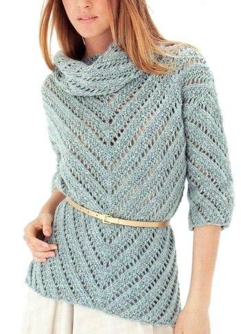 Ажурный джемпер -свитер (2 фото)