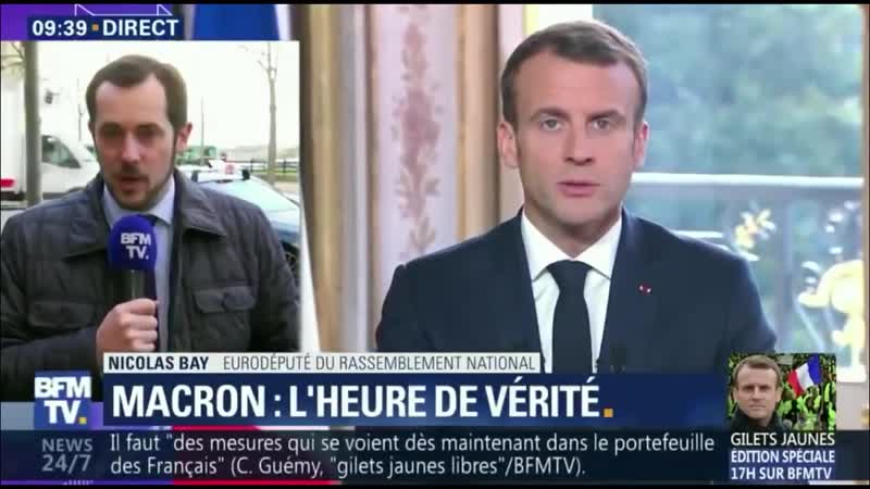 Bay : «La crise des Gilets Jaunes est aussi liée à l'arrogance de Macron» (BFMTV, 10/12/18, 9h38)