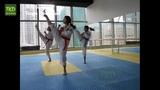 Taekwondo The Dreams Of The Girls Poomsae Basic Training Gymnestic Movements Jumping Kicks