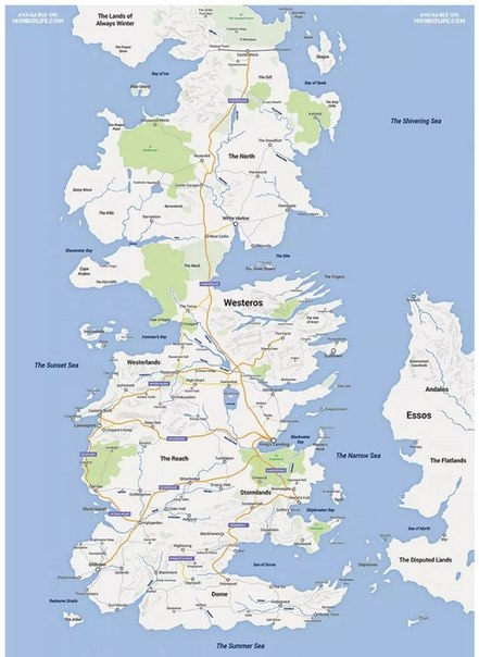 Как выглядела бы вселенная Game of Thrones на Apple Maps