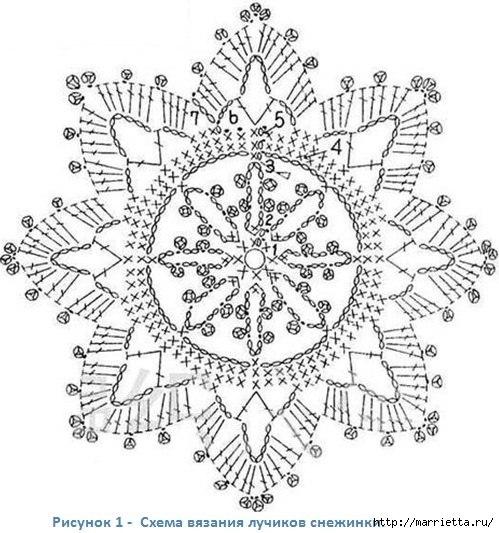Схема вязания снежинки крючком и схемы к ним 28
