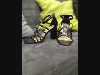 58-Босоножки Donna Piu, черные, на каблуке