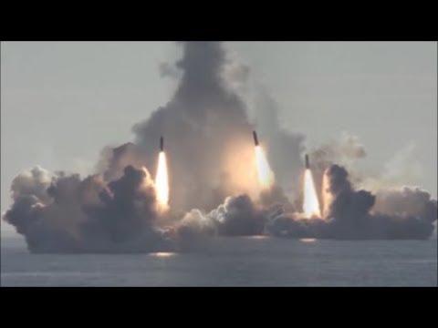 """Russian Nuclear Submarine """"Yuri Dolgoruky"""" (K-535) Sub-Sea Launch Four """"Bulava"""" Missile."""