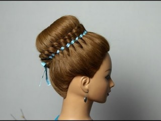 Braided hairstyle for long hair with 4 strand ribbon braid. Прическа : Пучок с косой из 4-х прядей