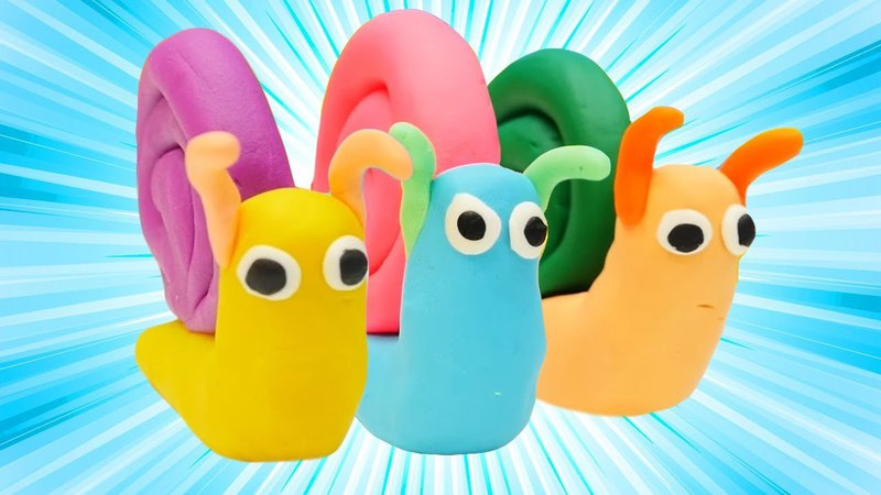 Play Doh oyun hamurundan salyangozlar. Eğlenceli ve eğitici