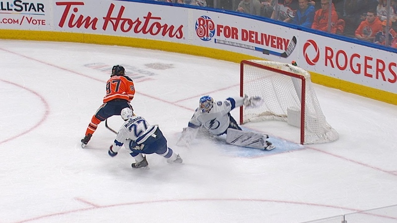 Andrei Vasilevskiys save-of-the-year candidate on Connor McDavid
