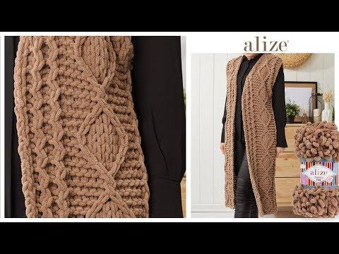 Puffy Fine ile desenli uzun yelek - Patterned Long Vest w Alize Puffy Fine