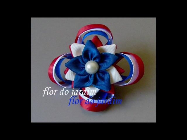 Flor tricolor de fita de gorgurao - ribbon flower with 3 colors