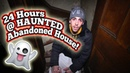 24 HOUR OVERNIGHT CHALLENGE IN ABANDONED HAUNTED HOUSE! / SNEAKING INTO HAUNTED HOUSE!