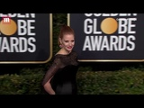 Jessica Chastain commands Golden Globes Red Carpet in black