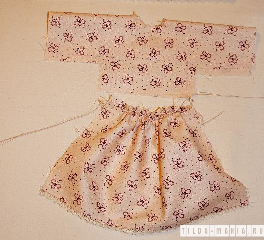 Пришить юбку к верху платья