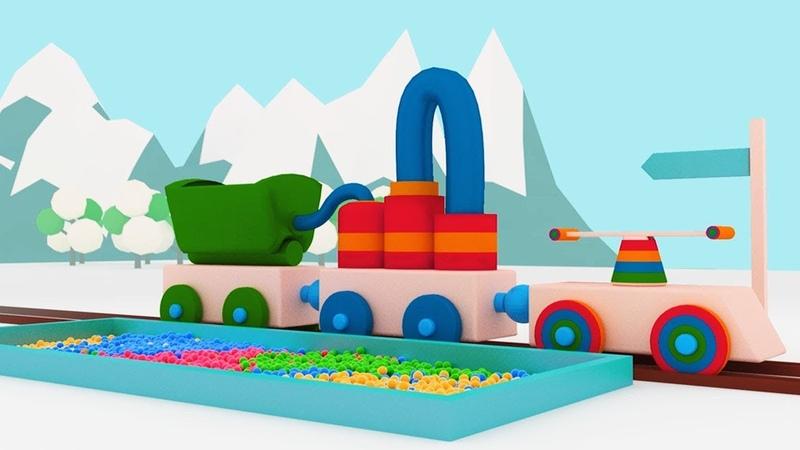 Palline Rimbalzine Il magico treno pieno di palline colorate scarica i vagoni CARTONI ANIMATI
