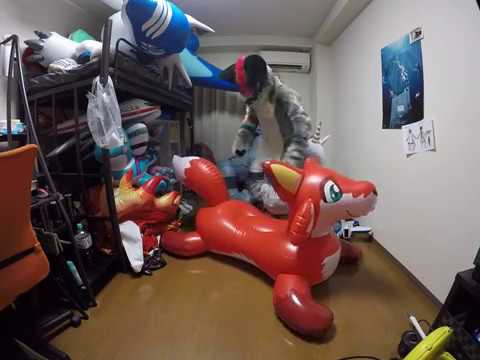 Ride on the kemono inflatables My OC IW fox Fursuit